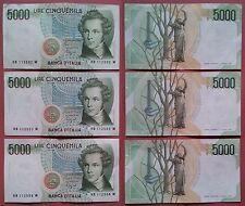 Italia Repubblica: Lotto di 3 banconote consecutive da 5000 Lire Bellini SPL