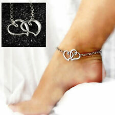 SILVER DOUBLE HEART ANKLET SUMMER Ankle Bracelet Sandal Foot Jewellery BEACH