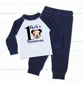 🌲🎅🏼 personalised boys Mickey 1st 2nd 3rd 4th Christmas Pyjamas  Xmas Eve Pjs
