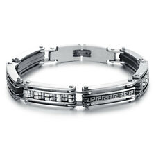 Men's Unisex Stainless Steel Bracelet Black Rubber G51