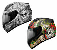 MT REVENGE SKULL & ROSES FULL FACE MOTORCYCLE MOTORBIKE CRASH HELMET ACU GOLD