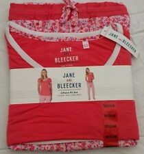 Jane & Bleecker Ladies Lounger Pyjamas T Shirt Top Bottoms Set Pink Floral XL