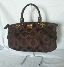 EUC Coach Madison Dotted OP Art Sophia Satchel Shoulder Bag 15935 Brown Handbag