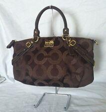 EUC Coach Madison Dotted OP Art Sophia Satchel Shoulder Bag 15935 Brown Handbag