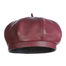 Women Retro Leather Berets Solid Color Hats Winter Warm Octagonal Cap Artist Hat
