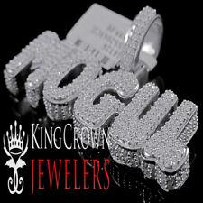 Real White Gold Silver Rapper Style Mogul Custom Charm Lab Diamond Mens Pendant