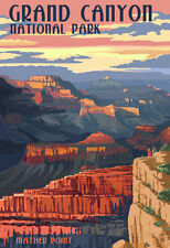 Grand Canyon National Park - Mather Point Travel Poster Print, 13x19