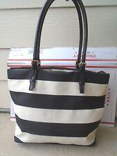 Kate Spade New York black/white stripe canvas tote shoulder bag