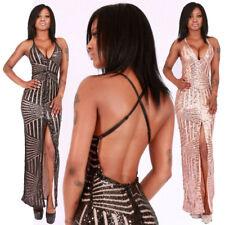 langes Abendkleid Gala elegantes Kleid Gold Glamour Schwarz Schlitz rückenfrei