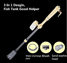 3 in 1 Aquarium Vacuum Filter Water Pump Fish Tank Gravel Cleaner Electric Brush