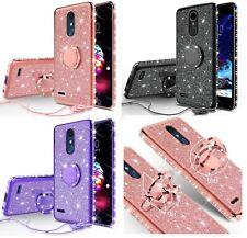 LG K40 Diamond Glitter Ring TPU Phone Cover With Neck Strap Bling Case Spectrum