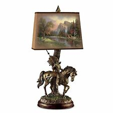 Thomas Kinkade Native American Lamp Warrior on Horse Sculpture Lamps NEW