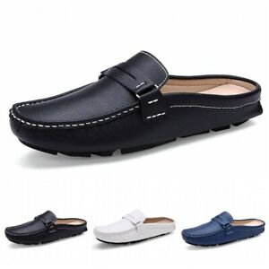 44 Summer Mens Faux Leather Slip On Slipper Mules Casual Loafer Moccasin Shoes D