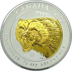 2 Dollar Silber Canada 2018 Wolverine gilded