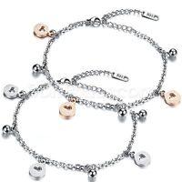 Women Girls Stainless Steel Hollow Love Heart Summer Beach Anklet Bracelet Chain