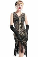 Vintage 1920s Flapper Dress Womens Gatsby Sequins Fringes Cocktail Party Dresses