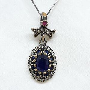 Deco 1.26ctw Blue/White Sapphire & Ruby 14K Yellow Gold Silver Pendant 5.7g