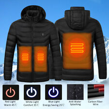 🇦🇺 S-XXXXL Electric Men Women Heating Coat USB Hooded Heated Jacket Skiing