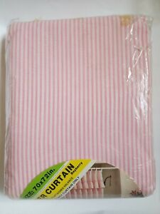 Vintage Shower Curtain PINK SEERSUCKER Candy Stripe New Old Stock 70x72 Bayberry