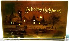 Hold To Light Postcard A HAPPY CHRISTMAS Viilage Waterfront by Moonlight 1908