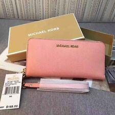 NEW  Michael Kors Jet Set Saffiano Leather Travel Wallet Wristlet pink sales.