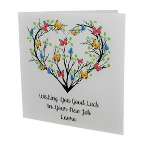 PERSONALISED Female Butterfly Heart Good Luck In Your NEW JOB CARD