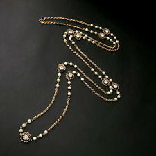 Costume Necklace Gold Long Ethnic Carving Pearl White Vintage Retro Class MYL1