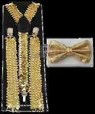 Gold Sequin Suspenders & Gold Metallic Finish Shiny Bow Tie Set Classic Combo