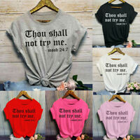 Women Fashion Casual O-Neck Letter Print Summer Short Sleeve T-Shirt Top Blouses