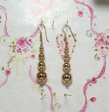 14K Gold Filled Graduated Beads Dangling Earrings, 2.5 Inches Long. GFER001