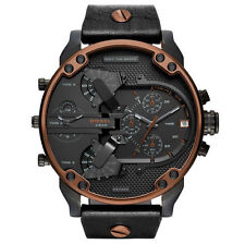 NEW DIESEL MR.DADDY 2.0 BLACK DIAL LEATHER STRAP COPPER TRIM MEN'S WATCH DZ7400