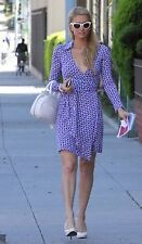DVF Jeanne Wrap Dress Ovals Print Size 4 Silk Blue White Seen On Paris Hilton