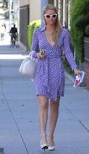 DVF Jeanne Wrap Dress Ovals Print Size 4 Silk Blue White Seen On Paris Hilton