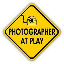 "Photographer At Play Sign Car Bumper Sticker Decal 5"" x 5"""