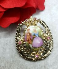 Rare Vintage Coro Painted Picture Brooch Pink Rhinestone & Faux Pearl Signed