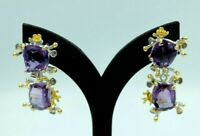 Handmade Natural Purple Amethyst & Blue Tanzanite 925 Sterling Silver Earrings