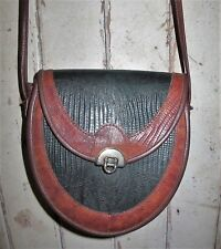 BAG Genuine LEATHER Cross body Shoulder Brown Green Pouch Vintage Festival Hippy