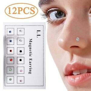 12pcs Magnetic Earrings Nose Nails Fake Piercing Fake Ring Ring Nose Nose E4I1