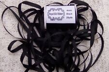 """100%PURE SILK EMBROIDERY RIBBON 1/8""""[4MM] WIDE 25 YARDS~ BLACK~ COLOR"""