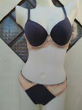NWT VICTORIA'S SECRET SEXY Blue Lacey Peach Accent Bra & Panty Underwear Set