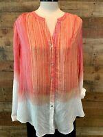 New~$48~ZAC & RACHEL Women's Large~XL Pink-Stripe Long-Sleeve Button-Blouse Top