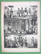 NORTH AFRICA Natives Algeria Cairo People - SUPERB Antique Print