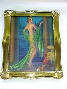 Vintage 30s Gene Pressler Unimagined Beauty Pin-Up Calendar Litho w/Brass Frame