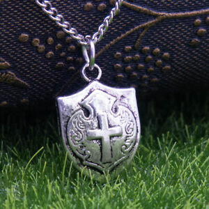 "Silver Plated Medieval Cross Shield Charm Pendant Necklace 24"" Curb Chain Women"