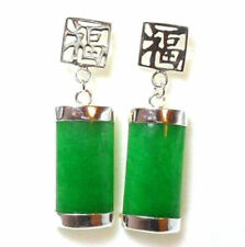 NEW PAIR NATURAL GREEN JADE 925 STERLING SILVER FORTUNE LUCKY EARRINGS