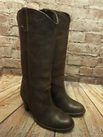 Womens Brown Leather Pull On Mid Heel Cowboy Style Boots UK 3 EUR 36 Narrow Leg