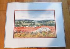 Blueberry Barrens in Fall Sandra Priest Framed Watercolor 1993 Signed Maine