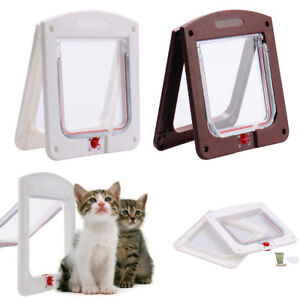 Pet door 4 way locking Small Medium Large Dog Cat Flap Magnetic White Frame UK
