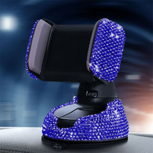 Blue Crystal Car Dashboard Mount Windshield Air Vent Mobile Phone Holder Stand