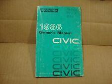 1986 Honda Civic Owners Manual original